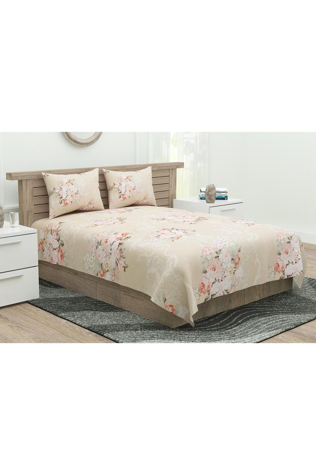 English Home Floral Print Double Bedsheet with 2 Pillow Covers