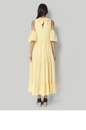 Womens Band Collar Check Maxi Dress