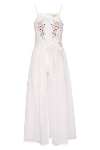 Girls Strappy Neck Lace Embroidered Dress