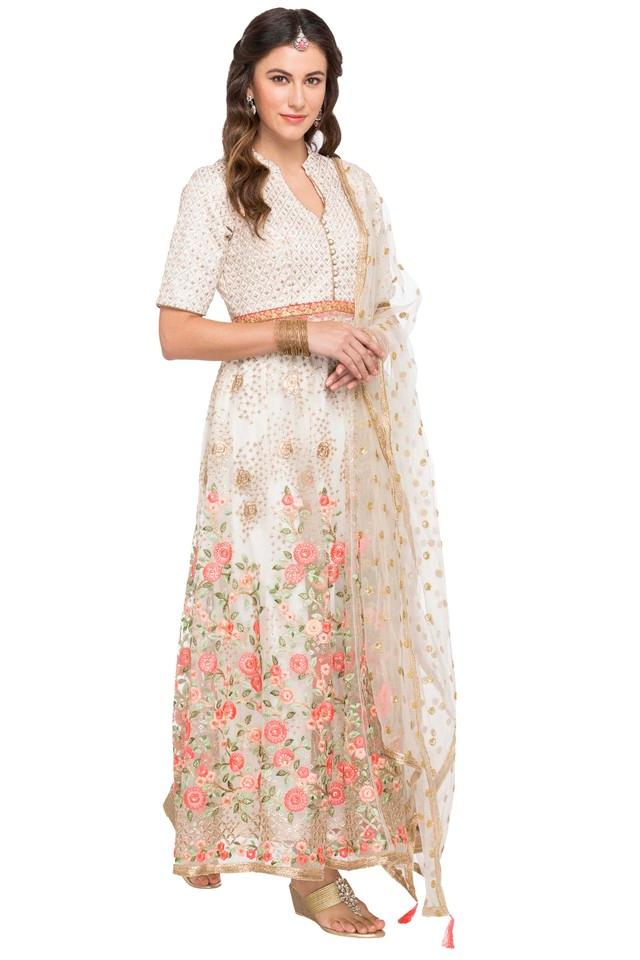 Womens Mandarin Neck Embroidered Gown With Dupatta