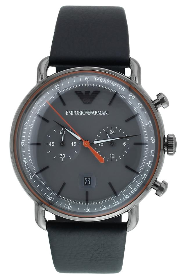 Mens Aviator Grey Dial Leather Chronograph Watch - AR11168I