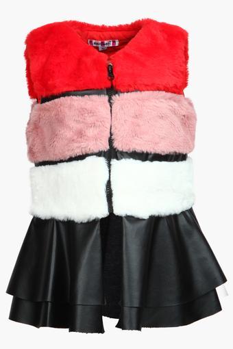 b1a047f158fa Buy NAUTI NATI Girls Zip Through Neck Colour Block Coat