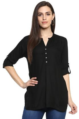 Womens Mandarin Collar Solid Kurti