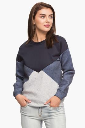 ELLEWomens Round Neck Colour Block Sweatshirt