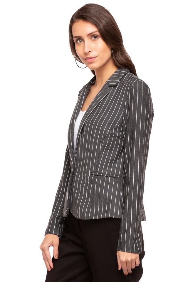 Womens Notched Lapel Stripe Blazer