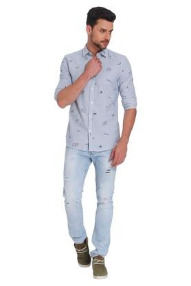 Mens Slim Fit Collar Stripe Shirt