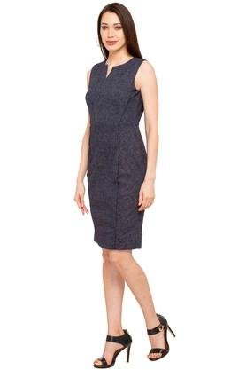 Womens Notched Neck Slub A-Line Dress