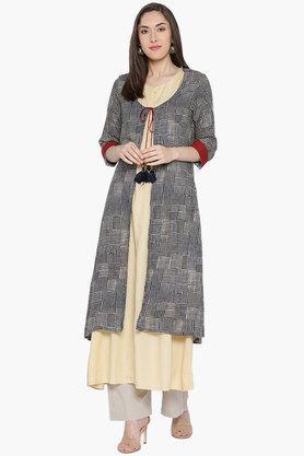 SHREEWomens Round Neck Printed Kurta With Jacket