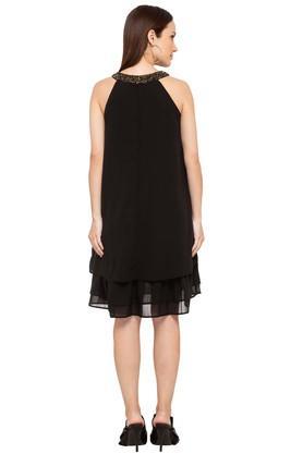 Womens Round Neck Embellished Layered Dress