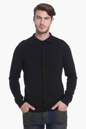 JACK AND JONES Mens Slim Fit Collared Solid Sweatshirt