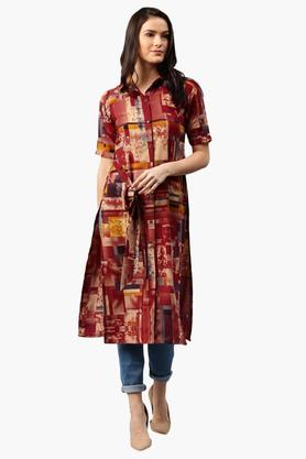 LIBAS Womens Collared Geometric Print Shirt Style Kurta