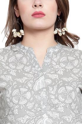 Womens Mandarin Collar Printed Kurta and Palazzo Set