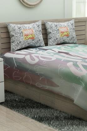 SPACES Printed Calliart King Bedsheet With Pillow Cover - 204824912_9900