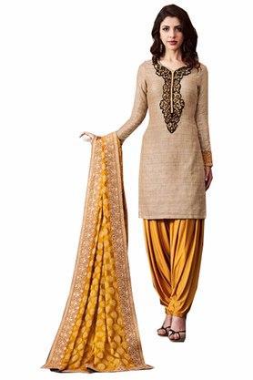 DEMARCAWomens Khadi Silk Designer Unstitched Dress Material