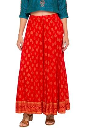 HAUTE CURRY Womens Printed Full Skirt