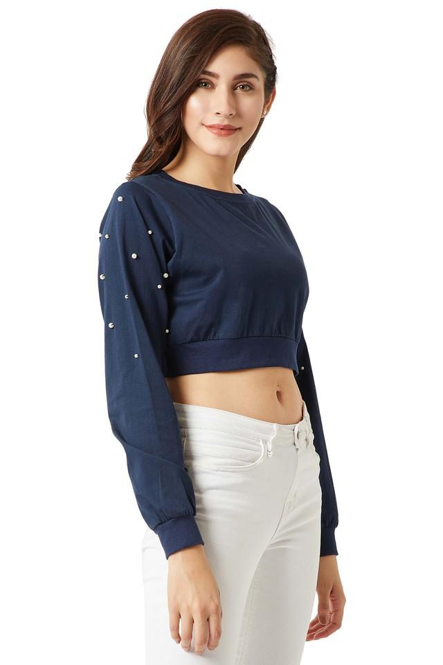Womens Round Neck Embellished Crop Top