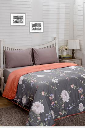 Essence Floral Aiden Grey Printed Cotton 100 GSM Double Quilt
