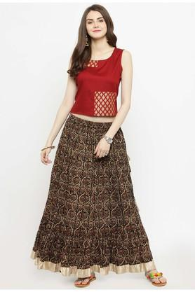VARANGA Women Gold Printed Crop Top With Skirt - 204517398_8310