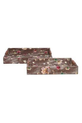 Rectangular Printed Tray with Handle Set of 2