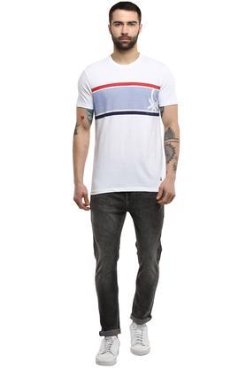 Mens Round Neck Dot Pattern T-Shirt