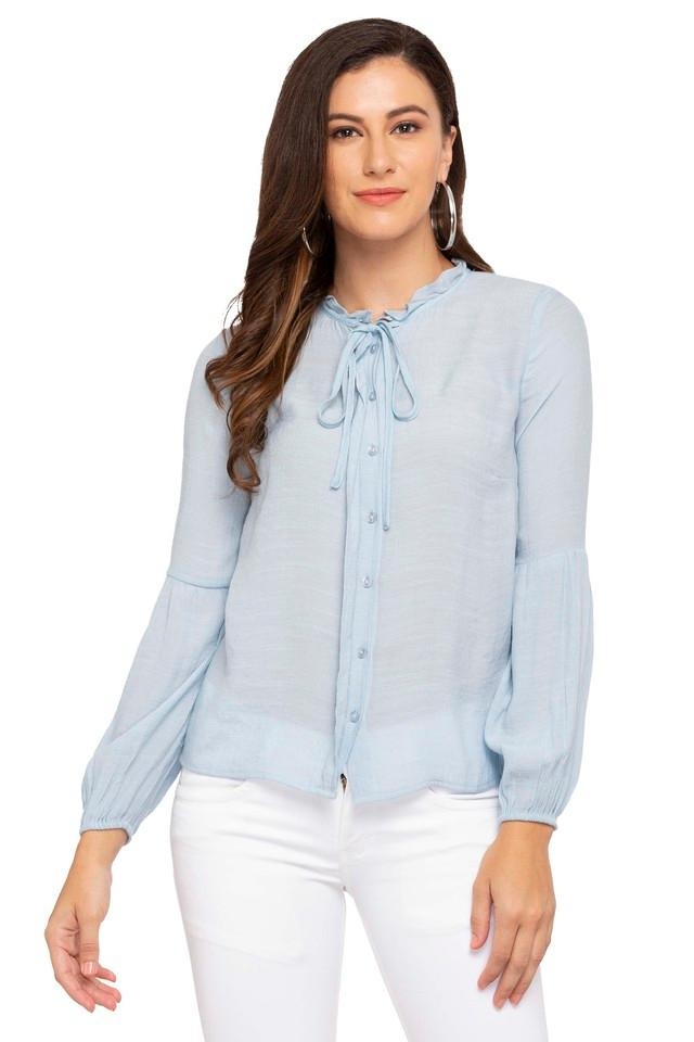 Womens Tie Up Ruffled Collar Slub Shirt