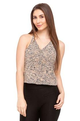Womens Spaghetti Neck Embellished Top