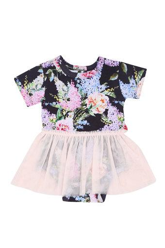 Girls Round Neck Printed Flared Dress with Briefs