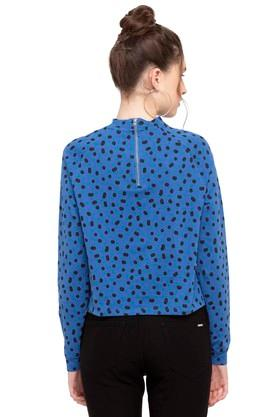 Womens High Neck Graphic Print Top