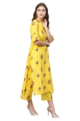 Womens Notched Neck Printed Kurta Palazzo Set