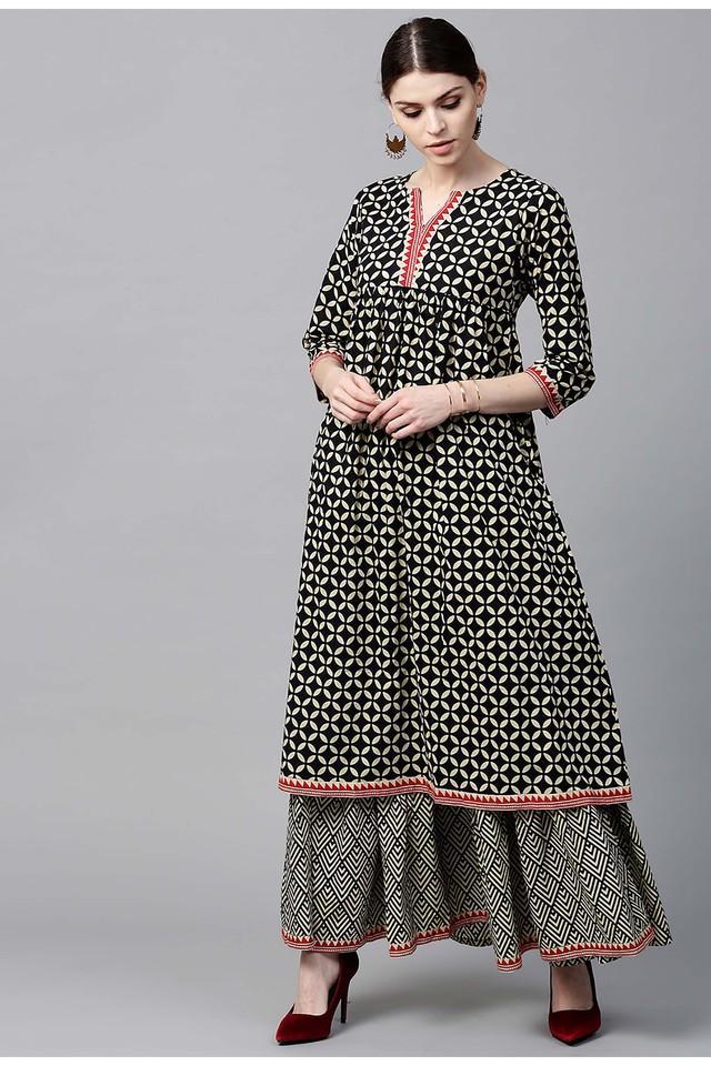 Women Cotton Printed Anarkali Kurta With Cotton Printed Skirt