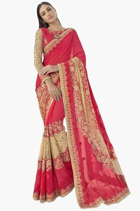 DEMARCA Womens Faux Georgette Chiffon Net Embroidered Saree