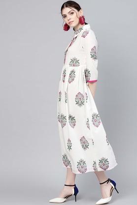 Womens Printed Calf Length Dress