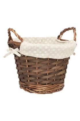 Round Wooden Basket with Printed Cloth