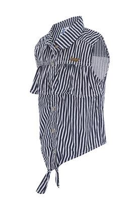 Girls Tie Up Striped Casual Shirt