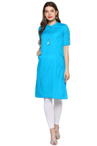 Womens Band Collar Solid Kurta