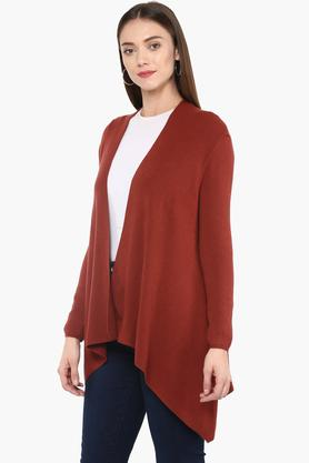 Womens Open Neck Solid Shrug
