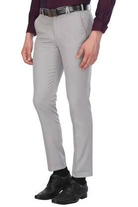 Mens 4 Pocket Self Printed Formal Trousers