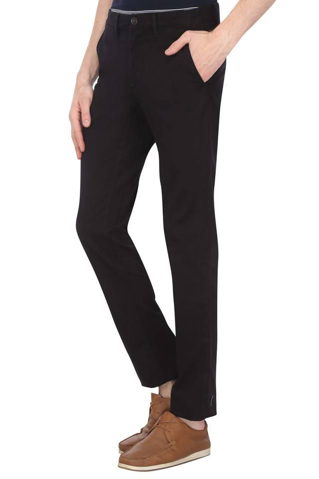 Mens 4 Pocket Solid Trousers