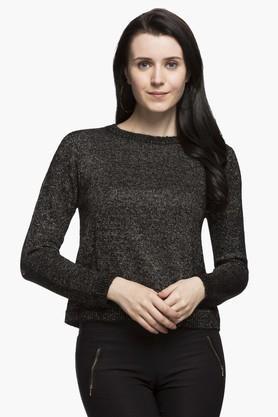 ELLEWomens Round Neck Slub Sweater