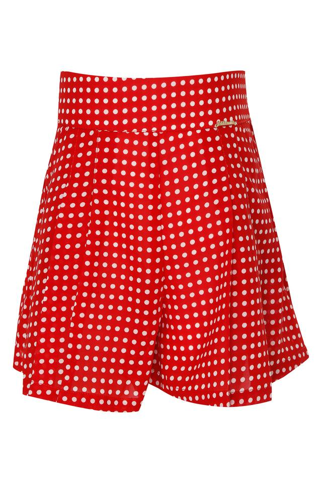 Girls 2 Pocket Pleated Printed Shorts