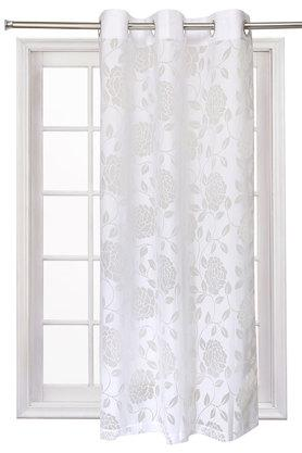 Poly Cotton Burnout Floral Printed Window Curtain
