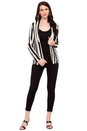 Womens Shawl Neck Striped Blazer