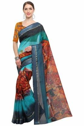 RACHNA Womens Art Silk Digital Printed Saree With Blouse - 204088367_7086