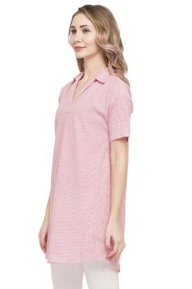 Womens Collared Stripe Long Shirt