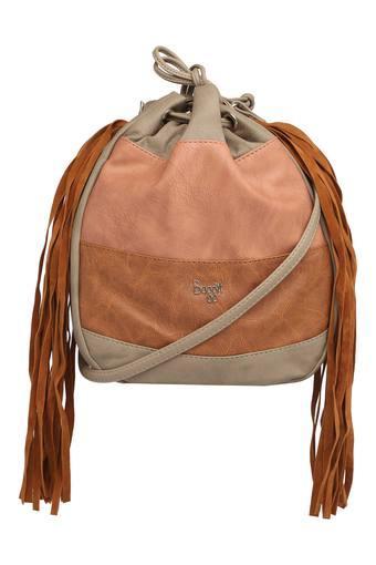 Womens Drawstring Closure Sling Bag