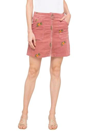 Womens 2 Pocket Embroidered Skirt
