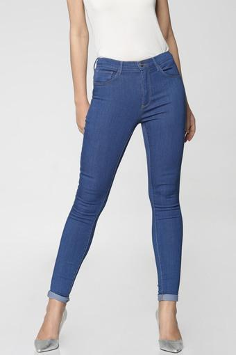 Womens Slim Fit 5 Pocket Heavy Wash Jeans