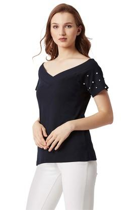 Womens V-Neck Embellished Top