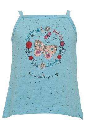 Girls Square Neck Printed Top