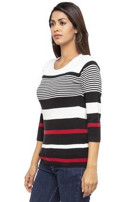 Womens Round Neck Striped Sweater